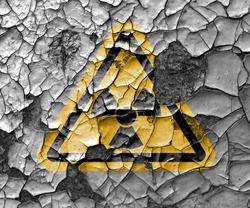 Radioactive ionizing radiation danger symbol with yellow and black stripes