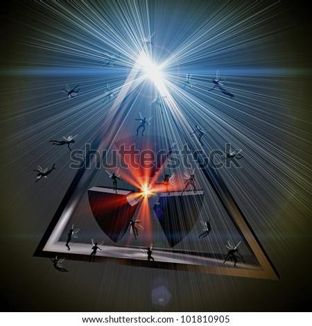 radioactive pyramid / shining symbol - deep in the fictional universe