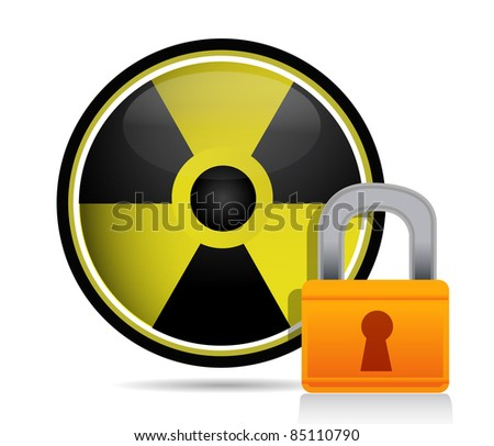 radioactive sign behind a lock