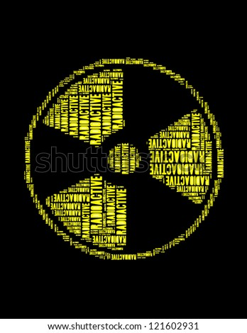 radioactive text collage Composed in the shape of radioactive sign