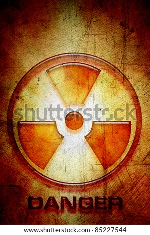 Radioactive warning sign of danger - stock photo