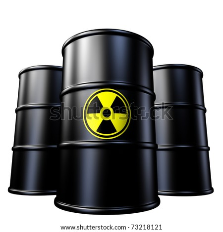 Radioactive waste containers symbol represented by toxic industrial garbage in metal drums from a nuclear reactor that produces radiation.