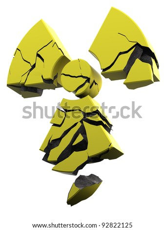 radioactivity logo made of yellow coated material
