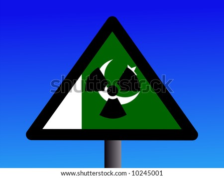 radioactivity sign with Pakistani flag on blue illustration JPG