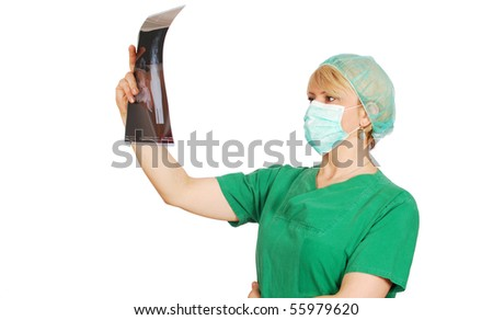 radiologist female doctor with mask
