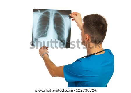 Radiologist man checking xray isolated on white background