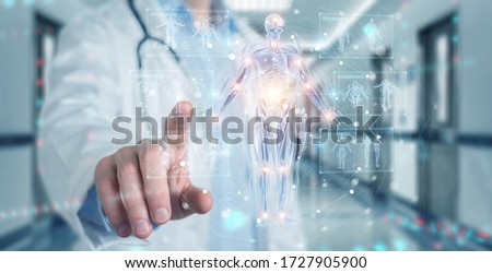 Radiologist on blurred background using digital x-ray human body holographic scan projection 3D rendering Foto stock ©