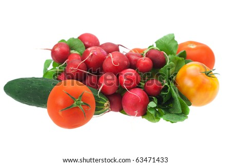 radish, cucumber and tomato isolated on white #63471433