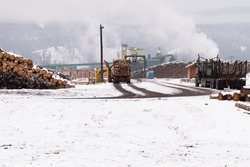 Radium, British Columbia, Canada Lumber Mill in Winter