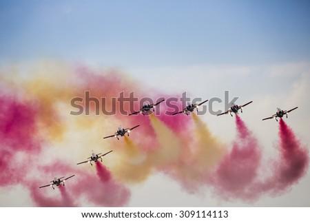 RADOM, POLAND - AUGUST 23: Aerobatic group formation \