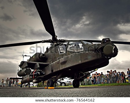 RADOM, POLAND - AUGUST 30: AH-64 Apache military helicopter at static exhibition during Air Show 2009 in Radom, Poland on August 30, 2009