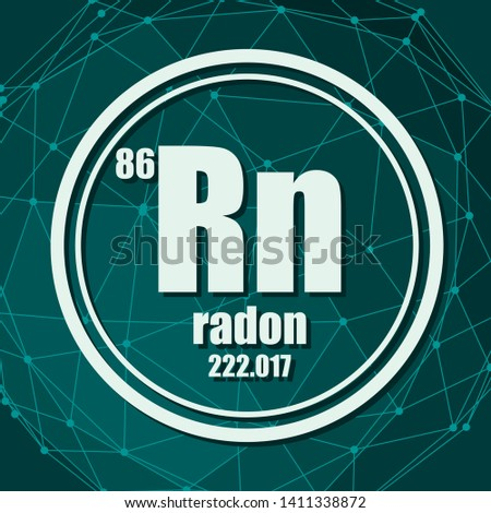 Radon chemical element. Sign with atomic number and atomic weight. Chemical element of periodic table. Molecule And Communication Background. Connected lines with dots.