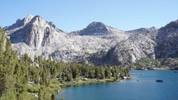 Rae Lakes with Moutain Landscapes in the Sierra Nevada Range of California, USA.