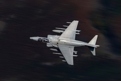 RAF Harrier jet flying low level in the united Kingdom.