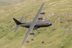 RAF Lockheed C-130 Hercules flying at Low level in the United Kingdom.