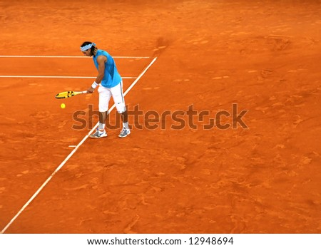 Rafael Nadal in the semi-finals of Tennis Master Series in Hamburg, 17th of May, 2008.