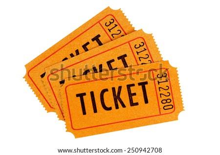 Raffle Ticket : Group Of Three Orange Movie Or Concert Tickets ... Raffle Ticket : Group Of Three Orange Movie Or Concert Tickets Isolated On A White Background. Stock Photo 250942708 : Shutterstock