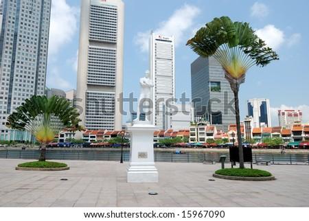 Raffles statue on Clark Quay in Singapore