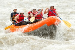 raft adventure water white sport river team teamwork outdoor active group of mixed pilgrim male and femininity with guided by specialist pilot on whitewater flow rafting in ecuador raft adventure wate
