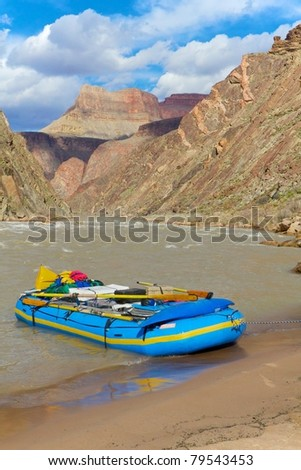 Raft on the Beach in the Grand Canyon
