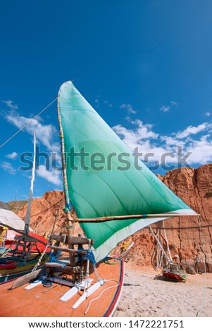 Raft or Jangada is typical fishing boat at Canoa Quebrada Beach.Raft or Jangada is typical fishing boat from the Brazil's Northeast.