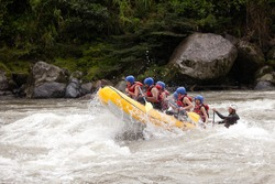 raft water river white ecuador team danger challenge risky extreme community of mixed trekker male and women with guided by specialist pilot on whitewater creek rafting in ecuador raft water river whi