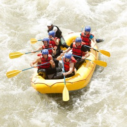 raft water white river sport boat whitewater team rapid row gathering of mixed mountaineer men and femininity with guided by specialist pilot on whitewater flow rafting in ecuador raft water white riv