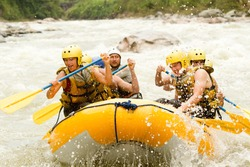 raft water white team sport activity whitewater extreme group rapids gathering of mixed trekker male and women with guided by professional pilot on whitewater waterway rafting in ecuador raft water wh