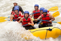raft water white whitewater river adventure sport team guide people group partnership of mixed tourist men and lady with guided by specialist pilot on whitewater flow rafting in ecuador raft water whi