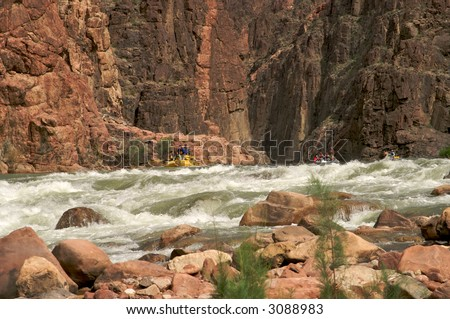Rafters getting ready to go through Granite Rapids in Grand Canyon