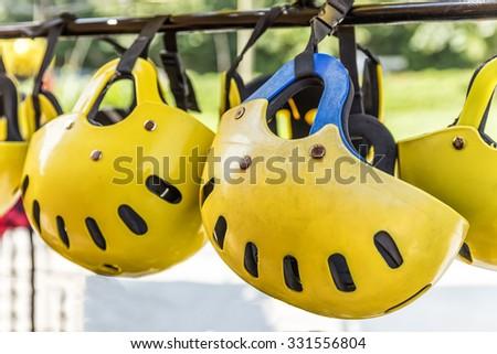 Rafting helmet stock photo