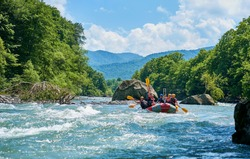 rafting on a mountain river