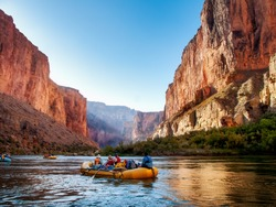 Rafting on The Colorado River in the Gran Canyon at sunrise