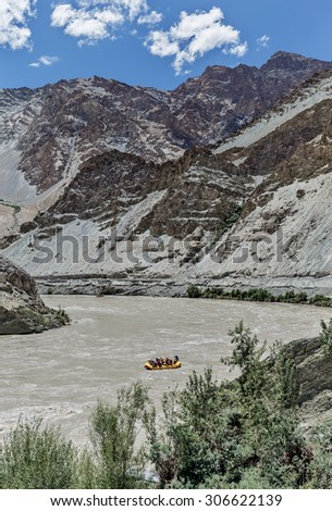 Rafting on the Zanskar river - Ladakh, Jammu and Kashmir, India. Tibet