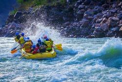 Rafting stunt while whitewater rafting Rishikesh India