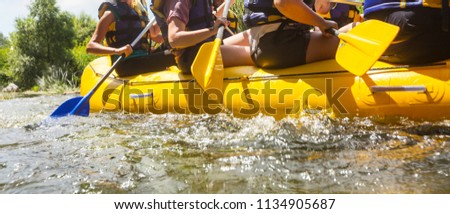 Rafting team , summer extreme water sport
