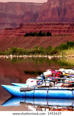 rafts ready to begin Grand Canyon float trip at Lees Ferry