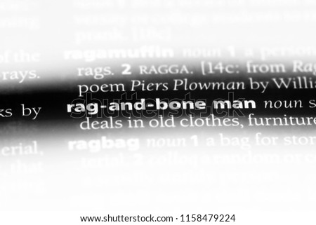 rag and bone man word in a dictionary. rag and bone man concept.