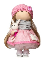 Rag doll with a rabbit isolated on white background.