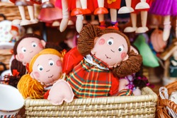Rag dolls toys handmade souvenirs at the sale