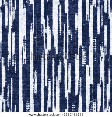 Ragged Stripes In Mottled White And Indigo Shades. Seamless Pattern.