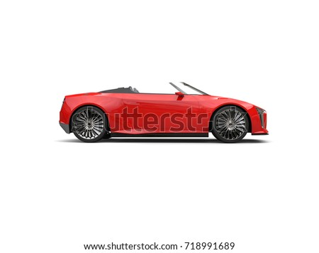 Raging red modern convertible sports super car - side view - 3D Illustration