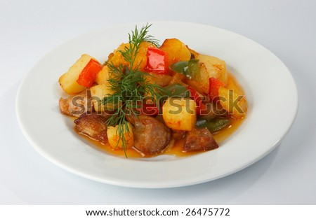 Ragout from meat, potato and sweet pepper