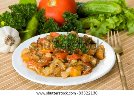 Ragout of vegetables on the white plate