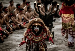 Rahwana servant in Ramayana Legend Story. This scene aired by Kecak dance in Uluwatu Bali, Indonesia