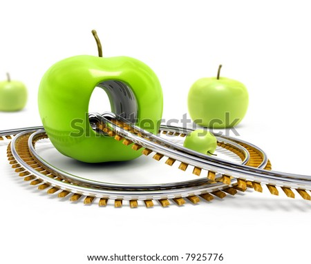 Rail road moving throw the hole in the big green apple 3d illustration