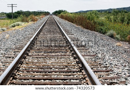 Rail road perspective background - stock photo
