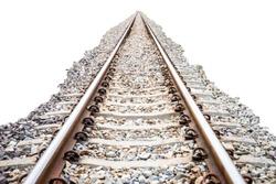 Rail track and rocks isolated on a white background, railroad, railway, train tracks
