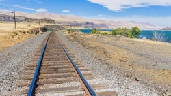 Rail tracks at Columbia Hills Historical State Park in the Columbia River Gorge, Washington State