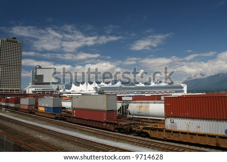 Rail Yard With Cargo Train on Vancouver's East Side